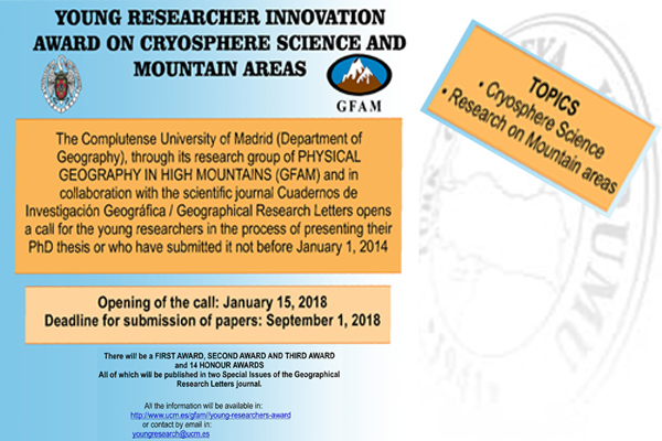 YOUNG RESEARCHER INNOVATION AWARD ON CRYOSPHERE SCIENCE AND MOUNTAIN AREAS